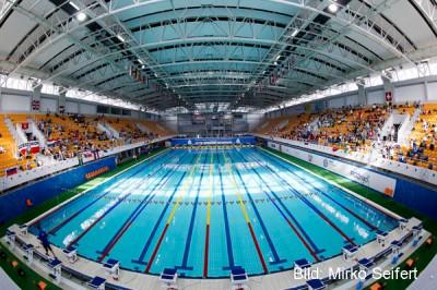 Schwimmhalle in Poznan: einen Bogen um die Malta Therme werden zukünftig LEN und FINA Wettkämpfe machen.