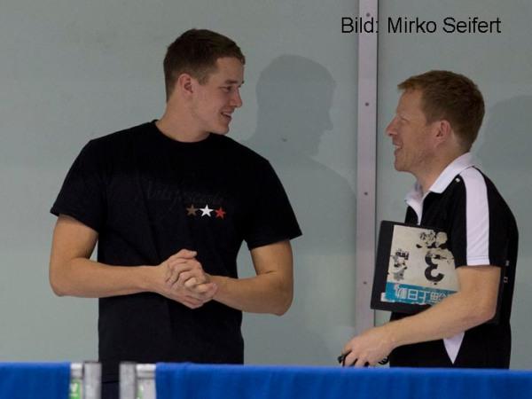 Berlin, 17.11.2016: Jacob Heidtmann (li) und sein ehemaliger Trainer in Elmshorn Bernd Berkhahn.